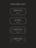 Insieme di vettore dei biglietti d'annata del cinema Fotografie Stock