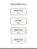 Insieme di vettore dei biglietti d'annata del cinema Fotografia Stock