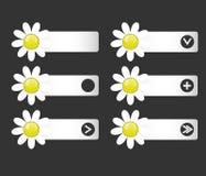 Insieme di vettore dei bottoni con i fiori di carta sui left and right illustrazione di stock