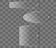 Insieme di vettore dei bottoni di vetro con i supporti del cromo illustrazione di stock