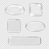 Insieme di vettore dei bottoni di vetro trasparenti bianco Fotografie Stock