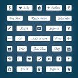 Insieme di vettore dei bottoni e degli elementi bianchi di web per i siti Web di progettazione Fotografia Stock Libera da Diritti