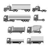 Insieme di vettore dei camion Icone piane grige Autocarro con cassone ribaltabile, carro armato, gasolin Fotografia Stock Libera da Diritti