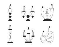 Insieme di vettore dei candelieri Immagini Stock Libere da Diritti