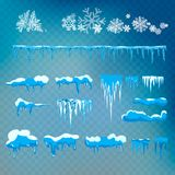 Insieme di vettore dei cappucci, dei ghiaccioli, della palla di neve e del cumulo di neve della neve isolati su fondo trasparente Fotografie Stock Libere da Diritti