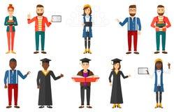 Insieme di vettore dei caratteri del dottorando royalty illustrazione gratis