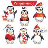 Insieme di vettore dei caratteri del pinguino di natale Insieme 4 Fotografia Stock Libera da Diritti