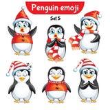 Insieme di vettore dei caratteri del pinguino di natale Insieme 3 Fotografie Stock Libere da Diritti
