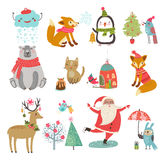 Insieme di vettore dei caratteri svegli Collezione invernale di Natale del nuovo anno Fotografie Stock Libere da Diritti