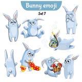 Insieme di vettore dei caratteri svegli del coniglio Insieme 7 Illustrazione di Stock