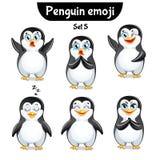 Insieme di vettore dei caratteri svegli del pinguino Insieme 5 Fotografie Stock Libere da Diritti