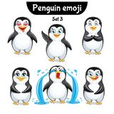Insieme di vettore dei caratteri svegli del pinguino Insieme 3 Immagini Stock Libere da Diritti