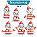 Insieme di vettore dei caratteri svegli del pupazzo di neve Insieme 5 Immagine Stock