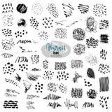 Insieme di vettore dei colpi neri della spazzola Pittura, inchiostro, spazzole, linee, lerciume illustrazione di stock
