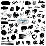 Insieme di vettore dei colpi neri della spazzola Pittura, inchiostro, spazzole, linee, lerciume illustrazione vettoriale