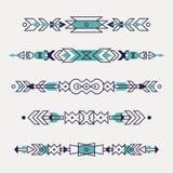 Insieme di vettore dei confini etnici decorativi Illustrazione di Stock