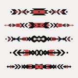 Insieme di vettore dei confini etnici decorativi con i motivi indiani americani illustrazione di stock