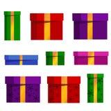 Insieme di vettore dei contenitori di regalo differenti Fotografie Stock
