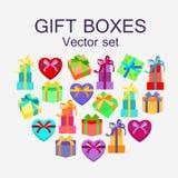 Insieme di vettore dei contenitori di regalo differenti nella progettazione piana illustrazione di stock