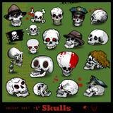 Insieme di vettore dei crani Fotografia Stock