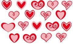 Insieme di vettore dei cuori rossi di giorno del ` s del biglietto di S. Valentino su fondo bianco Fotografia Stock