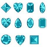 Insieme di vettore dei diamanti di varie forme Fotografia Stock