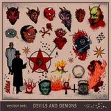 Insieme di vettore dei diavoli e dei demoni Immagini Stock