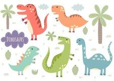 Insieme di vettore dei dinosauri isolati svegli royalty illustrazione gratis