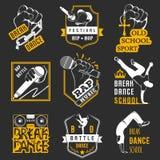 Insieme di vettore dei distintivi, del logos e del break-dance del segno Immagine Stock
