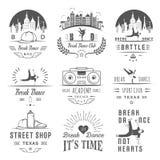Insieme di vettore dei distintivi, del logos e del break-dance del segno Fotografia Stock