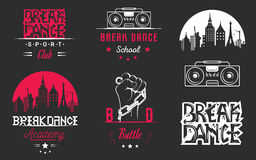 Insieme di vettore dei distintivi, del logos e del break-dance del segno Fotografie Stock Libere da Diritti