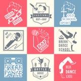 Insieme di vettore dei distintivi, del logos e del break-dance del segno Immagini Stock