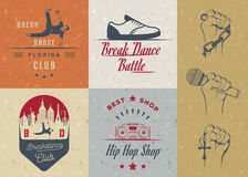 Insieme di vettore dei distintivi, del logos e del break-dance del segno Fotografie Stock