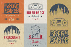 Insieme di vettore dei distintivi, del logos e del break-dance del segno Immagine Stock Libera da Diritti
