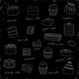 Insieme di vettore dei dolci bianchi su fondo misero nero con struttura royalty illustrazione gratis