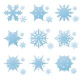 Insieme di vettore dei fiocchi di neve di inverno Fotografia Stock Libera da Diritti