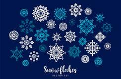 Insieme di vettore dei fiocchi di neve Elemento di disegno Immagini Stock