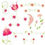Insieme di vettore dei fiori. Elementi floreali Immagine Stock Libera da Diritti