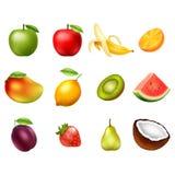 Insieme di vettore dei frutti isolato su fondo bianco Elementi di disegno illustrazione di stock