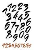 Insieme di vettore dei numeri calligrafici dell'inchiostro o dell'acrilico Fotografia Stock Libera da Diritti