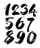 Insieme di vettore dei numeri calligrafici dell'inchiostro o dell'acrilico, iscrizione della spazzola Fotografie Stock
