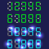Insieme di vettore dei numeri digitali blu e verdi sull'un fondo blu scuro Fotografia Stock
