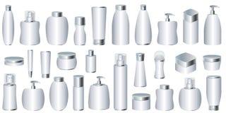 Insieme di vettore dei pacchetti cosmetici d'argento Immagini Stock