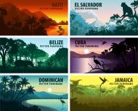 Insieme di vettore dei paesi dei panorams dei Caraibi e dell'America Centrale illustrazione di stock