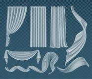 Insieme di vettore dei panni bianchi traslucidi d'ondeggiamento, di chiaro materiale leggero molle e delle tende isolati su fondo illustrazione di stock