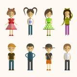 Insieme di vettore dei personaggi dei cartoni animati della gente in piano Immagine Stock Libera da Diritti