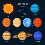 Insieme di vettore dei pianeti del sistema solare Elementi ed icone di progettazione di spazio cosmico illustrazione di stock