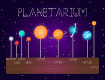 Insieme di vettore dei pianeti del sistema solare nella linea stile del fumetto Elementi di progettazione di spazio cosmico, icon illustrazione di stock