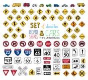 Insieme di vettore dei segnali stradali e dei veicoli di scarabocchi Fotografia Stock Libera da Diritti