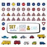 Insieme di vettore dei segnali stradali e delle automobili di scarabocchi Fotografia Stock Libera da Diritti
